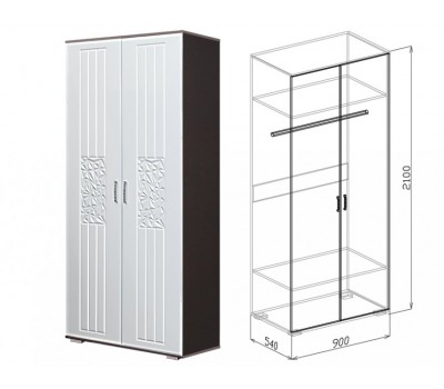 Оскар шкаф №2 (белый глянец)