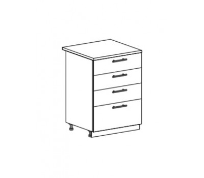МАРИЯ ШН4Я-600 шкаф нижний с 4 ящиками